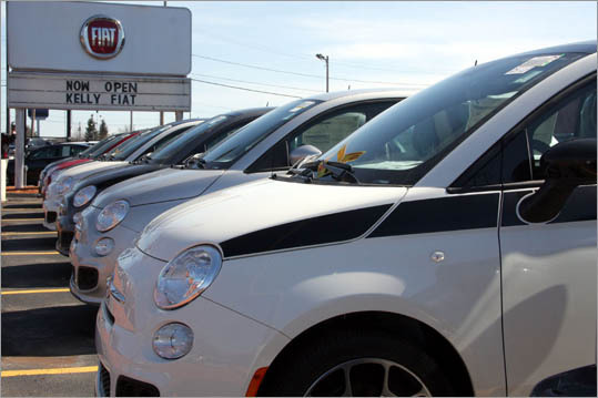 Fiat of Peabody is one of four Fiat dealerships in Massachusetts, and right now it's the only one open. 'We've been swamped on Saturdays and Sundays,' said Brian R. Kelly, vice president of Kelly Automotive Group. Kelly plans on ordering 100 cars to fill the next four weeks, and anticipates selling 400 this year.
