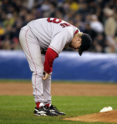 Curt Schilling The stage was set. Game 6, 2004 ALCS. The Red Sox had been down three games to none to the vaunted New York Yankees, but Boston picked up two of the most dramatic playoff wins in baseball history in Games 4 and 5 at Fenway Park to stay alive. Enter Schilling. The big righthander, who was hammered at Yankee Stadium Game 1, took the mound in the Bronx again with his ailing right ankle stitched together and deadened with a painkiller. In one of the gutsiest pitching performances in Red Sox history, Schilling gave up just one run on four hits and no walks in seven innings. The Red Sox prevailed in the must-win game 4-2, and the American League Championship Series would come down to a Game 7. You know the rest of the story.