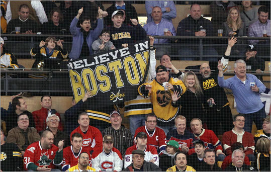 Bruins fans celebrated a goal, while Canadiens fans weren't quite so amused by the turn of events, in the first period.