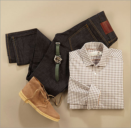 "ON A DATE Shipley & Halmos shirt, $169 at Uniform Spurr ""Rigid Denim"" jeans, $195 at Stel's Clarks ""Desert Boot,"" $95 at Club Monaco D&G watch, $275 at Saks Fifth Avenue"