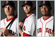 (Left to right) Jacoby Ellsbury, Dustin Pedroia, and Carl Crawford