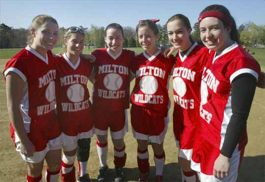 One of six seniors and a shortstop on the Milton High softball team, Jenna Lazar (second from left) was named to the 2006 All-Scholastic girls' softball team. The six seniors from the Milton High's 2006 softball team, from left to right: Heather Maffeo, Jenna Lazar, Melissa Traft, Cara Hebard, Kelsey Lamere, and Emma May.