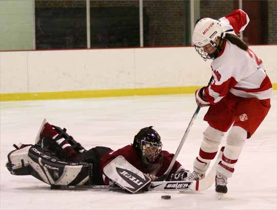 Molly Golden, a senior and forward for Milton High, was named to the 2007 All-Scholastic girls' ice hockey team.