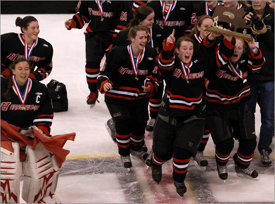 8. All in the family for Hingham girls Tom Findley has confidence in his goalie. But he should, since Beth is his daughter. This season the two combined, first to end St. Mary's amazing 100-game unbeaten streak, and second, to give the Harborwomen their first Division 1 girls' state hockey title. 'If you've got a good goalie, you're going to be in every game ... I'm so proud of her tonight.' Beth made 17 saves and teammate Catherine Linehan scored two goals in the 3-1 win over Acton-Boxboro in the title game. The path to the Garden was stressful. Hingham beat St. Mary's in overtime and went to a shootout against Winthrop.