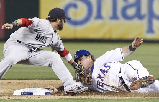 April 2: Rangers 12, Red Sox 5 The Red Sox dropped their second straight game to open the season on Saturday in Arlington, Texas. The Rangers Josh Hamilton stole second, narrowly avoiding the tag of Red Sox second baseman Dustin Pedroia, but did not score in the third inning.