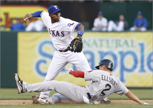 April 2: Rangers 12, Red Sox 5 Jacoby Ellsbury was unable to break up a double play in the first inning. Rangers shortstop Elvis Andrus threw to first in time to catch Dustin Pedroia also.