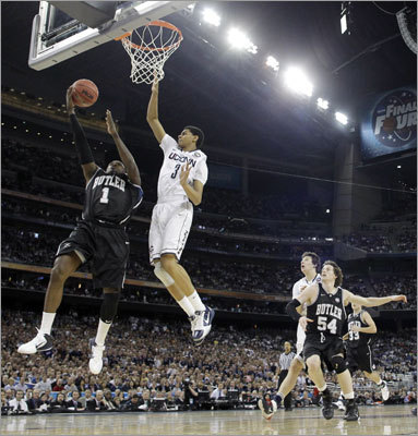 Final: Connecticut 53, Butler 41 Butler's Mack went up against Connecticut's Jeremy Lamb early in the first half.