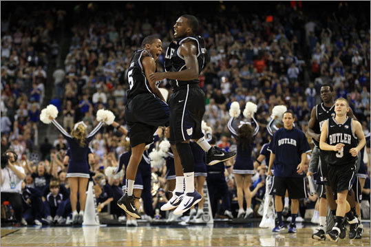 Final: Connecticut 53, Butler 41 Butler's Shelvin Mack (right) celebrated with Ronald Nored after Mack's 3-point shot at the end of the first half was good and gave Butler a 22-19 lead at halftime.