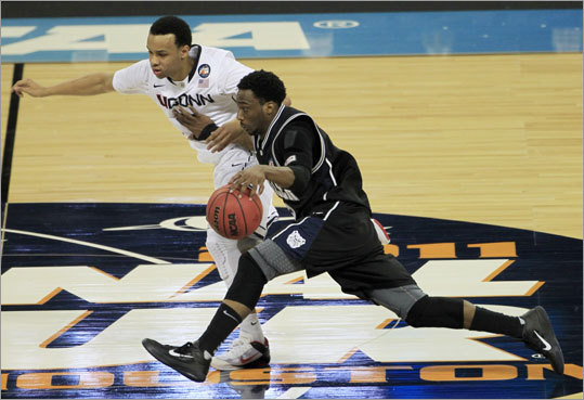 Final: Connecticut 53, Butler 41 Butler's Shawn Vanzant was defended by Connecticut's Shabazz Napier in the second half.