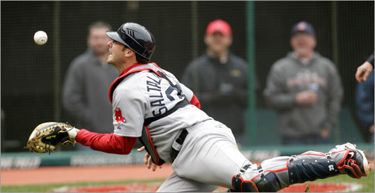 April 7: Indians 1, Red Sox 0 Red Sox catcher Jarrod Saltalamacchia caught a foul pop by Cleveland's Austin Kearns in the seventh inning.