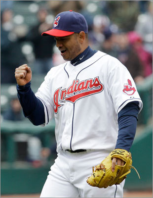 April 7: Indians 1, Red Sox 0 Indians second baseman Orlando Cabrera pumped his fist after the final out that gave Cleveland the sweep.
