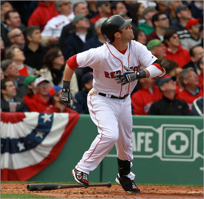 April 8: Red Sox 9, Yankees 6 Pedroia also hit a home run, belting a solo shot over the Green Monster off Yankees starter Phil Hughes.