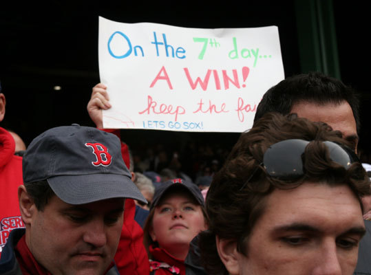 The Fenway faithful could finally breathe a sigh of relief after six consecutive losses.