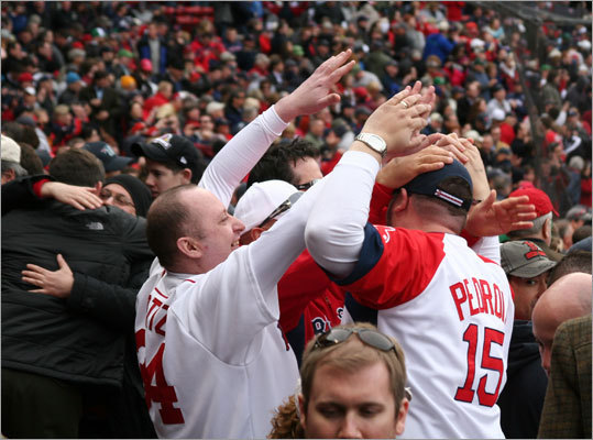 Fans got what they came for -- a Red Sox win -- and these guys celebrated after Jonathan Papelbon got the final out.