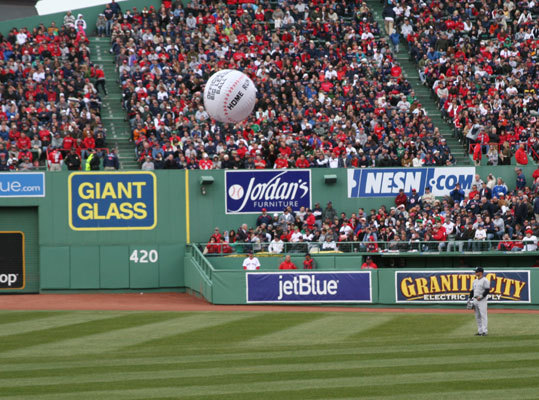 Several fans broke out beach balls as the home opener advanced into the later innings.