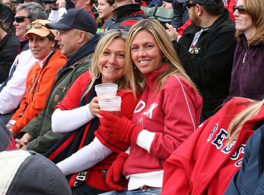 Friday: Home opener Red Sox fans Jessamy Finet and Erin Nanstad took in the opening day festivities from their regular seats in the bleachers.