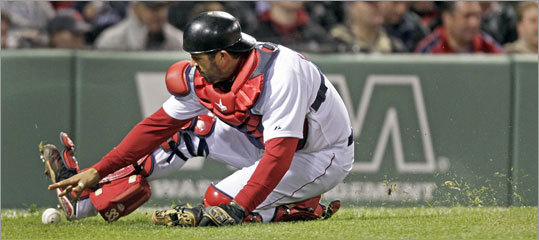 April 10: Red Sox 4, Yankees 0 With men on first and second in the top of the third inning Sunday, a pitch got past Red Sox catcher Jason Varitek, but he chased it down and prevented the runners from advancing.