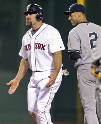 April 10: Red Sox 4, Yankees 0 Red Sox third baseman Kevin Youkilis wasn't pleased after he was called out for interference when he tried to break up a double play in the third inning. The call took a run off the board for the Red Sox, although they scored later in the inning.