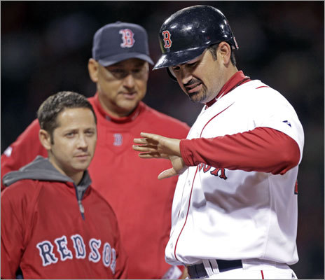 April 10: Red Sox 4, Yankees 0 Red Sox first baseman Adrian Gonzalez was hit on the hand by a pitch from Yankees starter CC Sabathia. Trainer Mike Reinold and manager Terry Francona checked n him, but Gonzalez remained in the game.
