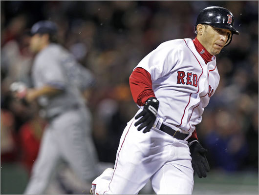 April 10: Red Sox 4, Yankees 0 Shortstop Marco Scutaro delivered a key hit for the Red Sox in the finale, a two-run double in the seventh inning that padded the lead to 3-0.