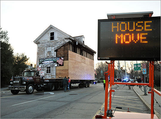 An electronic traffic sign told the story as local roads were temporarily closed to accommodate the move.