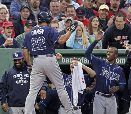 April 11: Rays 16, Red Sox 5 Old friend Johnny Damon was greeted by a mix of cheers and boos in his first trip to Fenway Park since rejecting a waiver claim by the Red Sox last summer and remained with the Tigers. Damon, who signed with the Rays in the off-season, ripped a solo home run off Matsuzaka in the first inning.