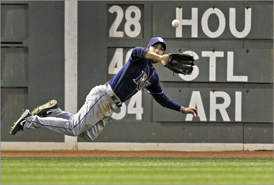 April 11: Rays 16, Red Sox 5 Fuld made a diving catch to rob Dustin Pedroia of a hit in the fifth inning.
