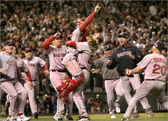 Red Sox win 2007 World Series The Sox didn't face the Yankees in the 2007 playoffs on their way to capturing Boston's second World Series title in three years. Still, victories over the Angels, Indians, and Rockies gave the Sox a second title and some bragging rights over their rivals from New York. Sox fans took to chanting 'year 2000!' after the 2007 Series in reference to New York not having won a title since then. Of course ...