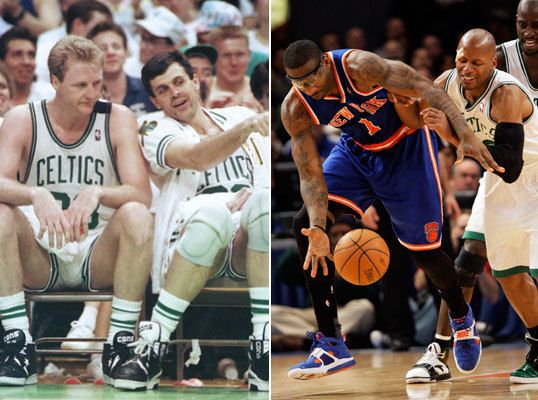 2010 NBA playoffs: Celtics 4, Knicks 0 The Celtics hold a 17-2 edge over the Knicks in franchise championships, and their most recent playoff series was similarly lopsided, with Boston sweeping the supposedly improved Knicks in four games. The last time the Celtics played the Knicks in the postseason prior to that, Larry Bird (left) was in the twilight of his career. New York rallied from a 2-0 deficit in that 1990 series and won Game 5, in the process breaking a 26-game losing streak at Boston Garden. With Patrick Ewing in the middle, the Knicks became one of the league's best teams in the mid 90s. Without Bird, the Celtics faded into relative obscurity in the 90s and early 2000s before finally claiming the franchise's 17th NBA title in 2008.