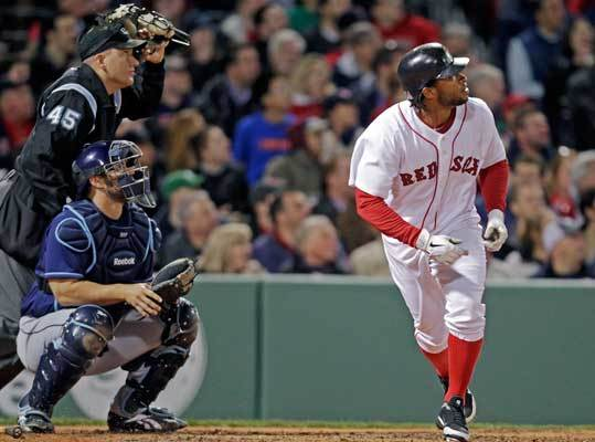 April 12: Rays 3, Red Sox 2 Right fielder Darnell McDonald provided some offensive spark for the Red Sox, putting Boston on the board in the third inning with a home run to left.