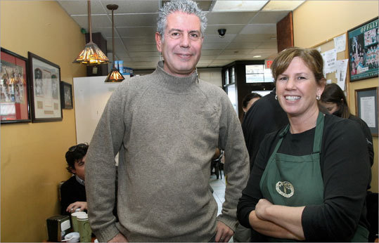 Greenhills Irish Bakery One morning, Bourdain and Ruffino met at Dorchester's Greenhills Irish Bakery, where the host was introduced to the bakery's popular breakfast sandwich which boasts Irish or American bacon, Irish sausage, white and black pudding, and a scrambled egg on a submarine roll. 780 Adams St., Dorchester, 617-825-8187, www.greenhillsirishbakery.com