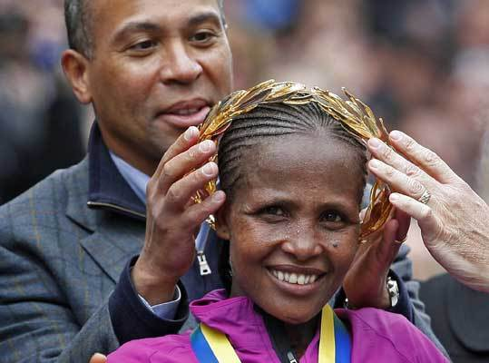 Teyba Erkesso Number: F1 Personal Best: Houston, 2010 – 2:23:53 Age: 28 Country: Ethiopia Boston Marathon: First in 2010, (2:26:11). Of Note: Erkesso placed first in her Boston debut in 2010, winning by three seconds. Erkesso likes to come out fast and try to hold on at the end, as evidenced by the 80-second lead she had entering the Newton hills. Before taking home the Boston crown, Erkesso defended her Houston title, trimming 25 seconds off her 2009 course record.