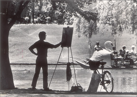 July 11, 1977 Jim Sticknes of Boston at work in the Public Garden.