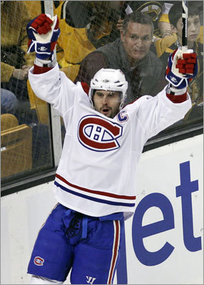 Game 1: Canadiens 2, Bruins 0: Brian Gionta gave Montreal a 1-0 lead in the first period at TD Garden. Gionta, the Canadiens' captain and former Boston College star, scored 2 minutes, 45 seconds into the first period.