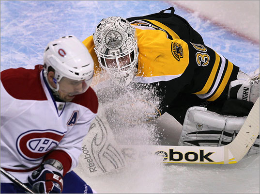 Game 1: Canadiens 2, Bruins 0: Bruins goalie Tim Thomas got a face full of ice shaving from Canadiens center Tomas Plekanec, who skated full bore toward the net in the second period of the opening game of their NHL playoff series at TD Garden. Plekanec did not score.