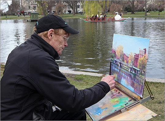 Boston's Swan Boats have been gliding through the Public Garden since the 19th century. They recently launched in April . Click through this gallery to see the boats and their riders for the last 60 years. Left: As swan boats glide by, artist Patrick Anderson of Beacon Hill captured a spring day on canvas.