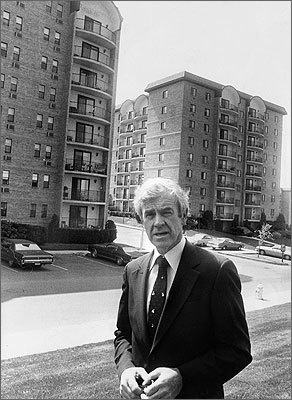 Developer Thomas Flatley stands in front of Granada Highlands in 1979. Granada Highlands, built in 1974, was the first market rate high rise in the city, boasting eight stories and 919 units.