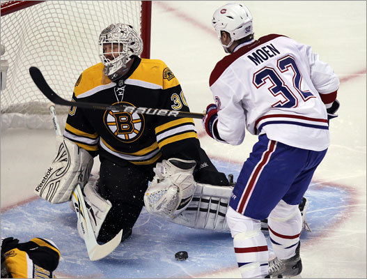 Game 2: Canadiens 3, Bruins 1 Tim Thomas shows his disappointment after giving a goal from the Habs' Michael Cammalleri only 43 seconds into the first period.
