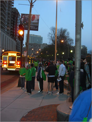 Marathoners were out early as they waited at Boston Common for the buses to take them to Hopkinton.