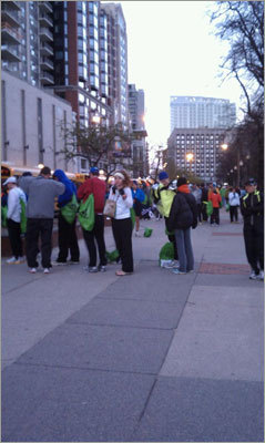 Marathoners showed their eagerness early, filing in neat lines to board the buses bound for Hopkinton.