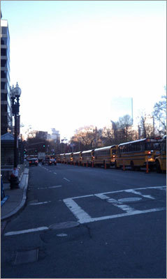 The buses are lined up ready to take the runners to Hopkinton.