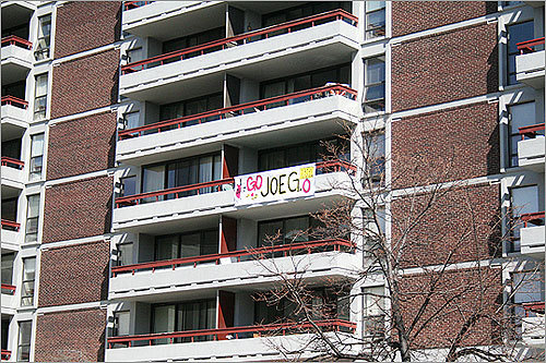 We hope Joe knew to look high above Beacon Street at this apartment building as he enters Kenmore Square.