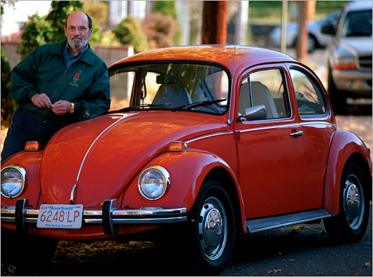 Volkswagen introduced the Super Beetle in 1971, which was the largest variant on the model, according to the Associated Press . However, the model wouldn't see much play in the next couple of decades because of increased competition from Japanese small-car models like Honda and Nissan. Volkswagen stopped selling the car in the United States in 1979. At that point, more than 21 million had been produced. Pictured: a 1973 Volkswagen Beetle with its owner.