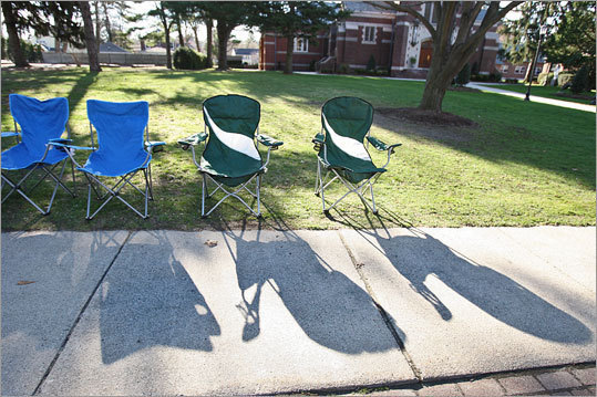 Folks have already staked out their spots in Wellesley.