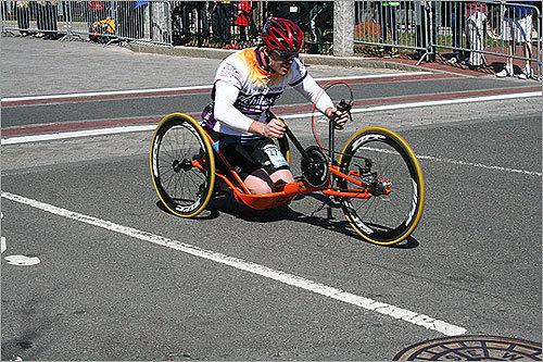 A wheelchair competitor zipped his way through Kenmore Square.