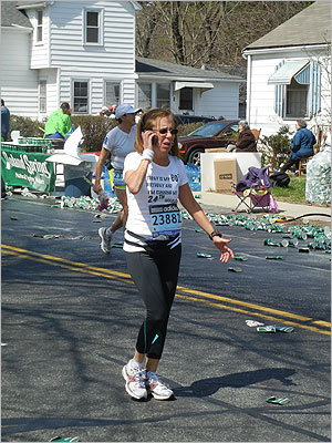 Anita Reibel of Aventura, Fla., talked on the phone while participating in her 24th marathon on the day she turned 60.