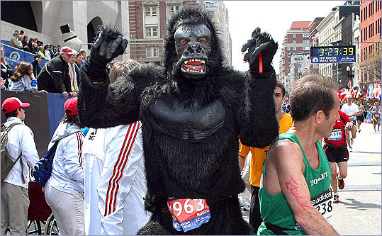 Things never got too hairy for Jeff Bennett of Coppell, Texas, who ran the race in a gorilla outfit. 'I just wanted to have fun,' he said at the finish line. Mission accomplished.
