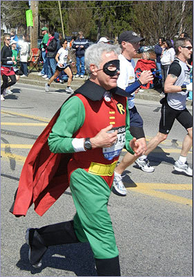 Holy costumes, Batman! Robin decided to run the course without his fearless leader in sight.