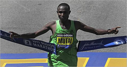 Geoffrey Mutai crossed the finish line.