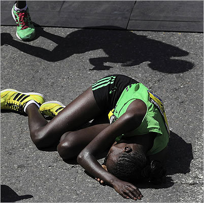 Caroline Kilel collapsed moments after crossing the finish line.